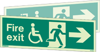 4034DSU - Jalite Fire Exit Mobility Impaired Double Sided Sign