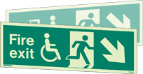 4044DSU - Jalite Fire Exit Mobility Impaired Double Sided Sign