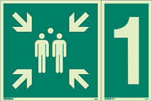 4997Q & 4621G - Jalite Assembly Point Fire Safety Sign