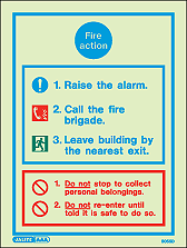 5055D - Jalite Fire Action Charts with Procedures Sign
