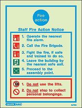 5479D - Jalite Staff Fire Action Notice Sign