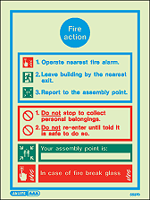 5537D - Jalite Fire Action Notice Sign With Specific Information