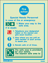 5540D - Jalite Special Needs Fire Action Notice Sign