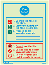 5553D - Jalite Fire Action Notice Sign With Specific Information
