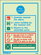 5562D - Jalite Fire Action Notice Sign With Specific Information
