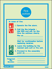5563D - Jalite Fire Action Notice Sign With Specific Information