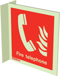 6451FS15 - Jalite Fire Telephone Location Wall Mounted Double Sided Sign