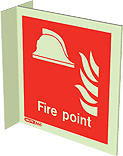 6459FS15 - Jalite Fire Point Wall Mounted Double Sided Sign