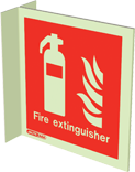 6490FS15 - Jalite Fire Extinguisher Location Wall Mounted Double Sided Sign