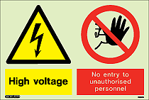 7436Y - Jalite Warning High Voltage No Entry Sign