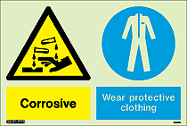 7441DD - Jalite  Warning Corrosive Substance wear protective clothing Sign