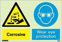 7443DD - Jalite Warning Corrosive Wear Eye Protection Sign