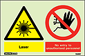 7489Y - Jalite Warning Laser No Entry to Unauthorised Personnel Sign
